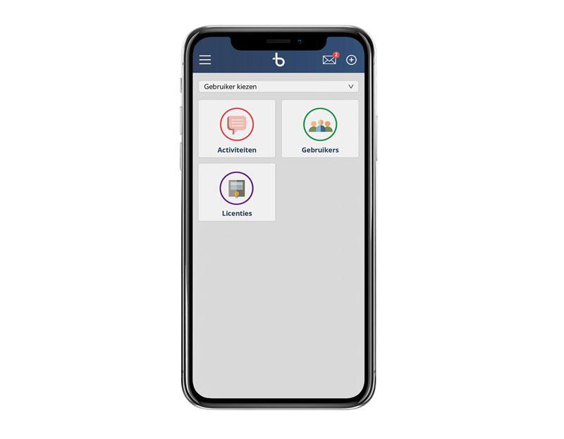 Voorbeeld Dashboard App d2 op Mobiel